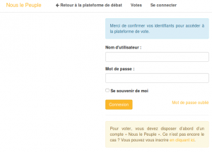 Login plateforme de vote